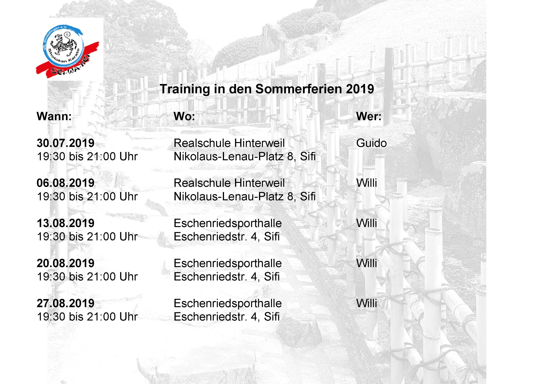 Training in den Sommerferien 2019