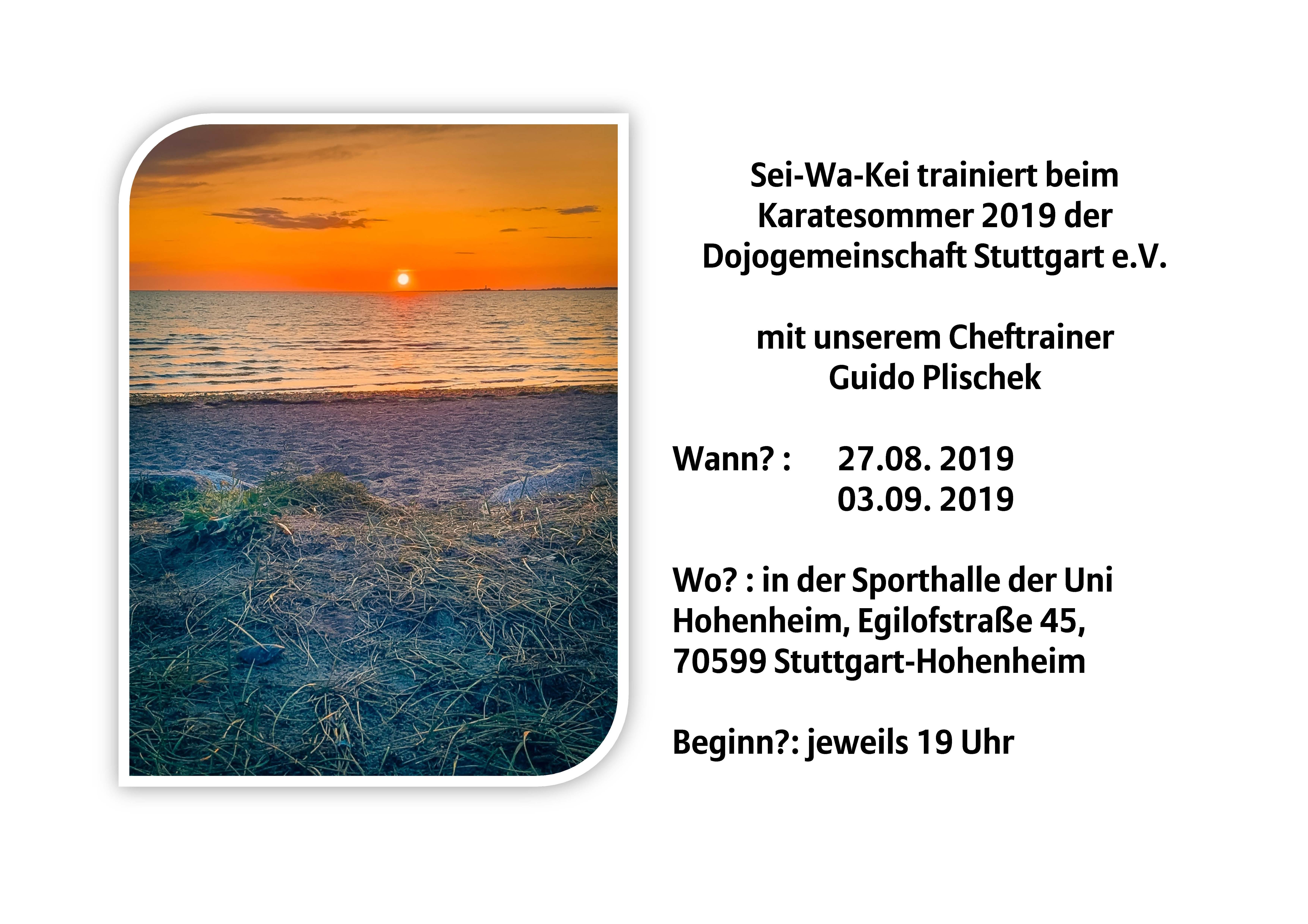 Training am 27.08. und 03.09.19
