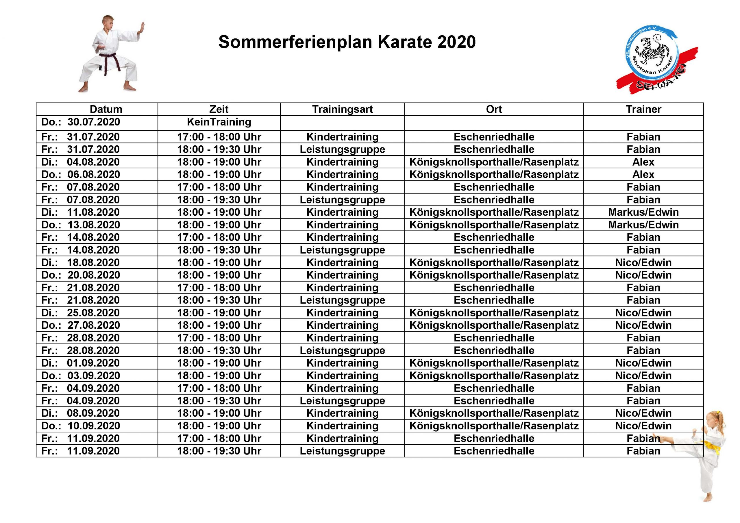 Sommertrainingsplan 2020